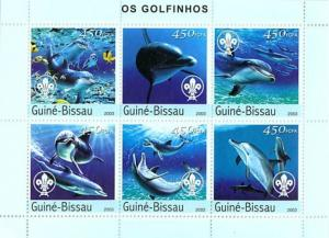 Guinea-Bissau MNH S/S Dolphins Marine Life 2003