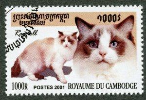 Domestic Cats: Ragdoll. 2001 Cambodia, Scott #2124. Free WW S/H