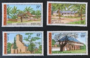 Wallis and Futuna 1977 #200-1,203-4 MNH. Buildings