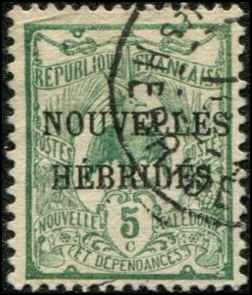 French New Hebrides SC# 2 Kagu o/p 10c Used