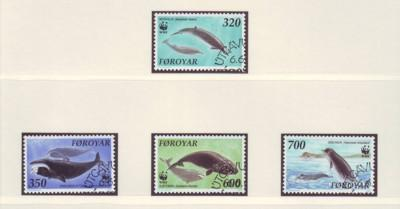 Faroe Islands Sc 208-11 Whales WWF stamps used