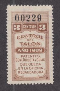 Argentina, Santa Fé, Forbin 288A used 1909 3c General Tax Fiscal, Talon half