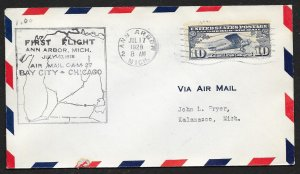 UNITED STATES #C10 on First Flight Cover 1928 Ann Arbor to Kalamazoo