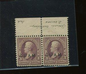 Guam Scott 3 Var SPECIAL PRINTING Mint NH Pair of 2 Stamps w/PF Cert (G 3-PF1