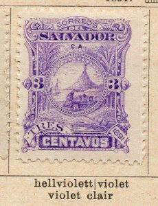 Salvador 1891 Early Issue Fine Mint Hinged 3c. NW-11844