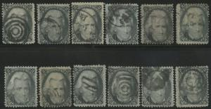 #73 FINE USED (12) DIFF. FANCY CANCELS CV $780 BS1945