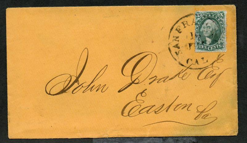 US Sc #34 Type 4 Pos 64L1 San Francisco Feb 16, 1858 CDS Cancel