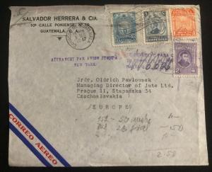 1947 Guatemala Commercial Airmail Cover to Prague Czechoslovakia Via New York