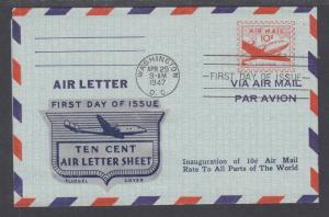 US Sc UC16 FDC. 1947 10c DC-4 Skymaster Air Letter, Fluegel Color Cachet