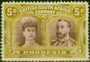 Rhodesia 1910 5d Purple-Brown & Olive-Yellow SG141a Fresh & Fine Unused