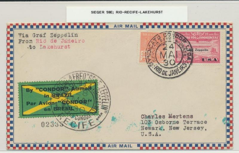 BRAZIL TO USA 1930 GRAF ZEPPELIN COVER, Si#59E
