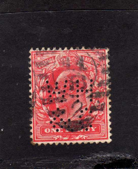 Edward VII 	sg220	1902	one penny	brt red	used	imp crown