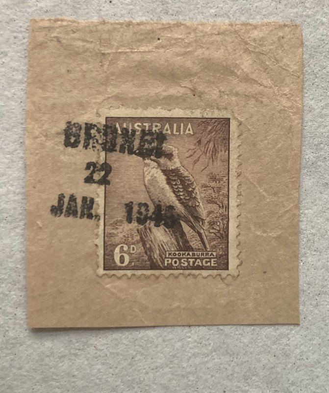 Rare Australia used in Brunei after WWI with 22 JAN 1946 cancel on piece