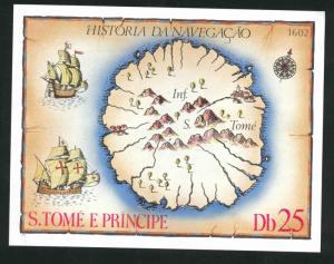 St Thomas & Prince Scott 540 MNH** History of Navigation  1979 map sheet