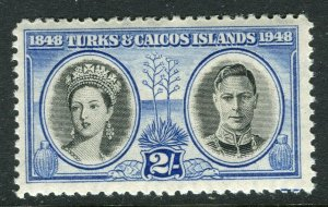 TURKS CAICOS ISLANDS; 1948 early GVI issue fine Mint hinged 2s. value