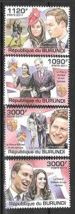 Burundi MNH 1001-4 Prince William & Kate 2011 SCV 12.50