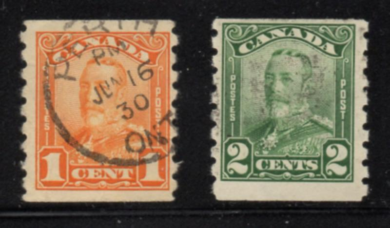 Canada Sc 160-1 1928 George V scroll issue coil stamp set used