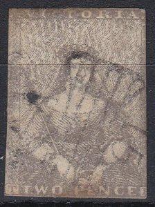 V183) 1850 QV Half length Ham printing 2d Grey, SG 15b