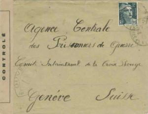 France 2F Marianne 1945 to International Red Cross, Geneva, Switzerland.  Fra...
