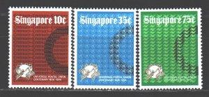 Singapore. 1974. 215-17. 100 years of UPU. MNH.