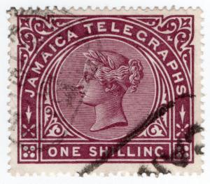 (I.B) Jamaica Telegraphs : 1/- Purple-Brown
