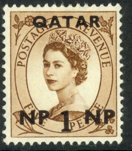 QATAR 1957 QE2 1np on 5d Wilding Portrait Issue Sc 1 MH