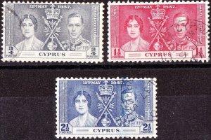 CYPRUS 1937 KGVI Coranation Set SG148-150 Used