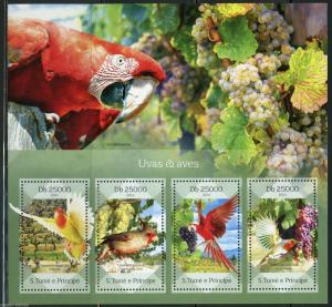 SAO TOME 2014  PARROTS AND GRAPES SHEET MINT NH