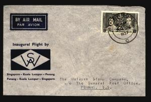 Straits Settlements 1937 Airmail Cover Singapore to Penang - Z14703