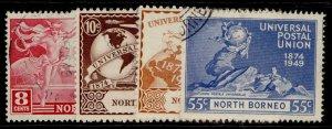 NORTH BORNEO GVI SG352-355, anniversary of UPU set, FINE USED.