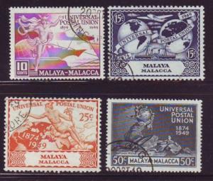 Malaya Malacca Sc 18-21 1949 UPU stamps used