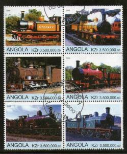 Angola 2000 Steam Locomotive Railway Train Transport Setenant BLK/6 Cancelled...