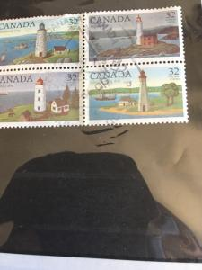 Canada 1984 Lighthouses Used Block of Four VF #1035a