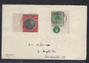 BAHAMAS PSC  (P1108B) 1937 KGV 1/2D WAR TAX CONTROL+CENT 1D COVER TO LONDON