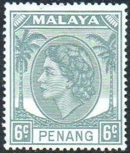 Penang 1954 6c grey MH