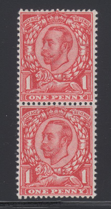 Great Britain SG 343a MNH. 1912 1p KGV pair, bottom No Cross on Crown, Cert