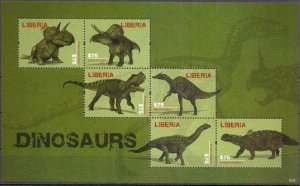 Liberia. 2012. Dinosaurs. MNH.