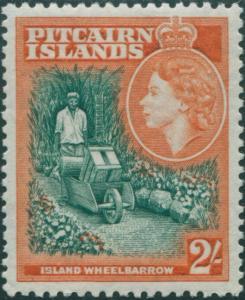 Pitcairn Islands 1957 SG27 2/- Wheelbarrow MLH