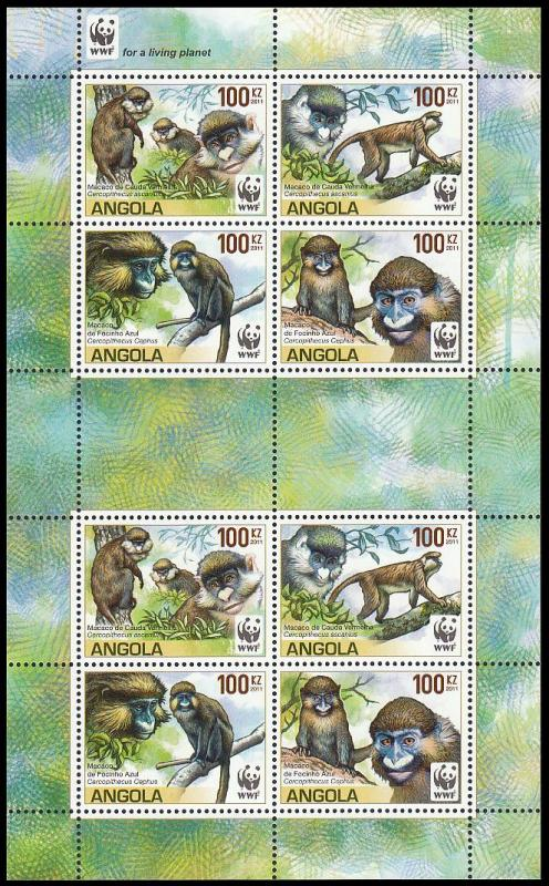 Angola WWF Monkeys Guenons MS of 2 sets /8v