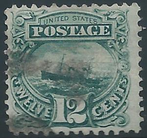 United States, 1869, Scott #117, Used, V.F., 12c green