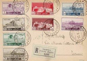 1939 Libya, N° 158/16 + Pa 13a Fiera Di Tripoli La Series Su Postcard Viaggiata