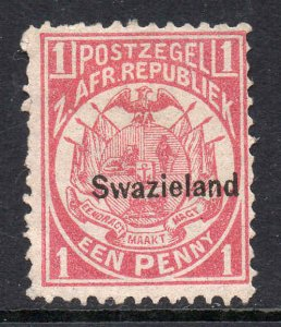 Swaziland 1889 o/p on Transvaal 1d SG 1 mint CV £25