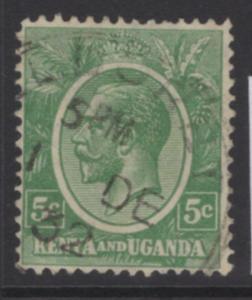 KENYA, UGANDA & TANGANYIKA SG78 1927 5c GREEN FINE USED