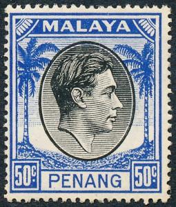 Malaya Penang 1949 50c Black & Blue SG19 MH
