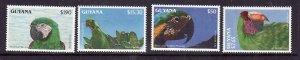 Guyana-Sc#2654-6,2659-unused NH 1/2 set-Birds-parrots-id4-1993-