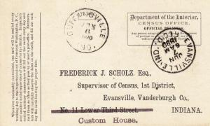 1890, Buffaloville to Evansville, IN, Census Office Official Card  (25136)