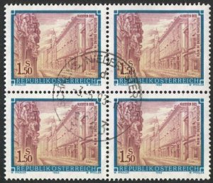 AUSTRIA 1989  Sc 1467  1.50s Used  Block of 4  VF, Monastery in Vienna
