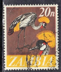 ZAMBIA SC# 46  **USED** 1968  20n  CROWNED CRANES  SEE SCAN