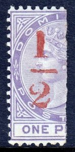 DOMINICA — SCOTT 12 (SG 11) — 1882 ½d SURCHARGE BISECT — MH — SCV $35
