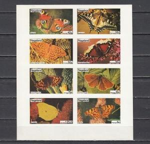 Nagaland, 1974 India Local. Butterflies IMPERF sheet of 8.